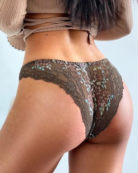 Colorblock Crochet Lace Bowknot Decor Cutout Panty