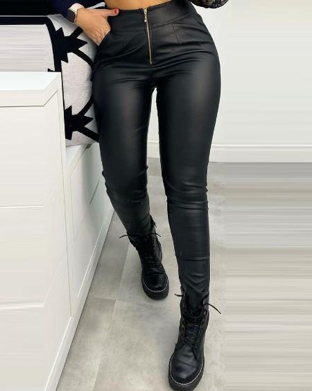 PU Leather Pocket Zipper Design Pants