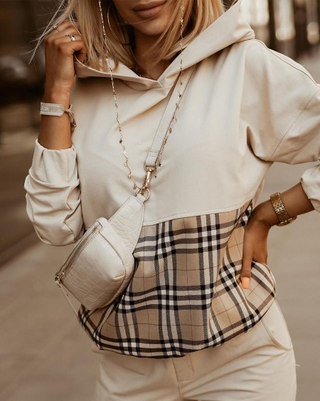 Plaid Print Long Sleeve Hooded Sweatshirt