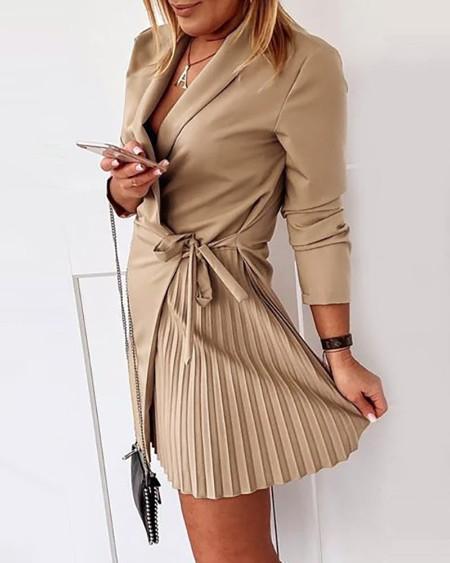 Solid Tie Detail Ruched Blazer Dress