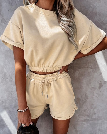Solid Short Sleeve T-shirts With Elatic Waist Shorts Suit Sets