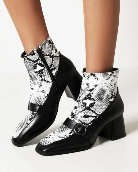 Ladies Vintage Patchwork Snakeskin Print Square Toe High Heel Booties