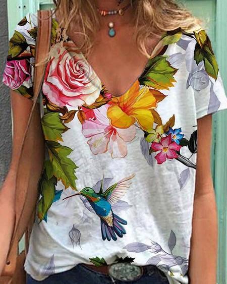 Bird Floral Print Short Sleeve Casual T-shirt