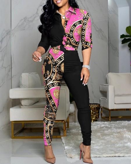 Baroque Print Colorblock Buttoned Top & High Waist Pants Set