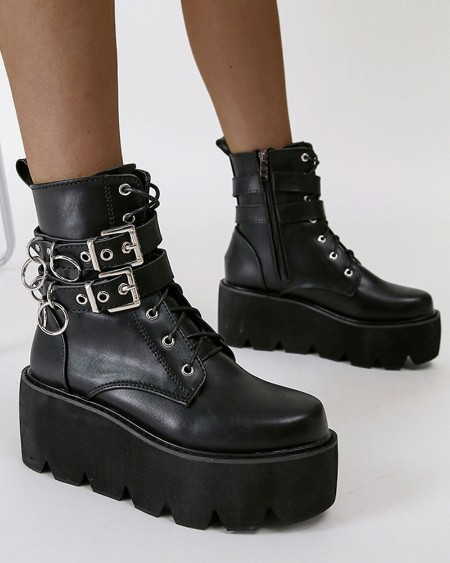 Womens Buckles Decor Round Toe Wax Finish Lace-Up Platform Booties