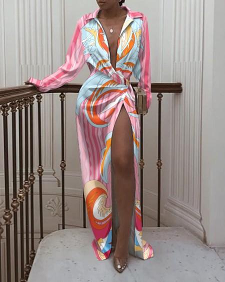 All Over Print High Slit Twisted Shirt Dress