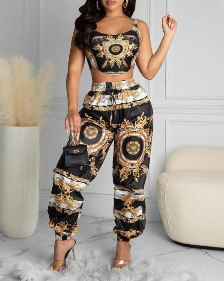 Scarf Print Crop Top & High Waist Pants Set