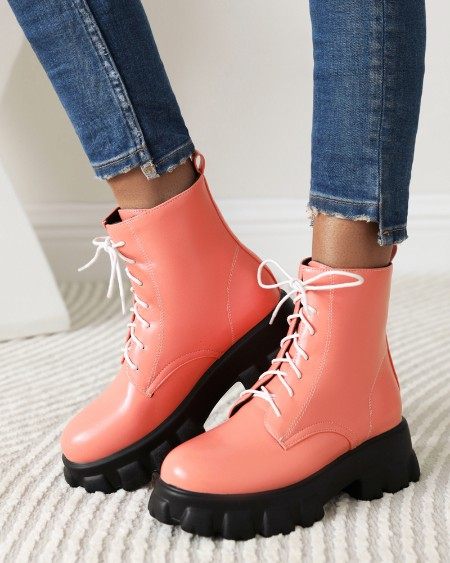 Womens Round Toe Lace-up Mid Heel Martin Boots