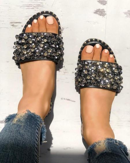 Sequins Shiny Peep Toe Antiskid Sandals