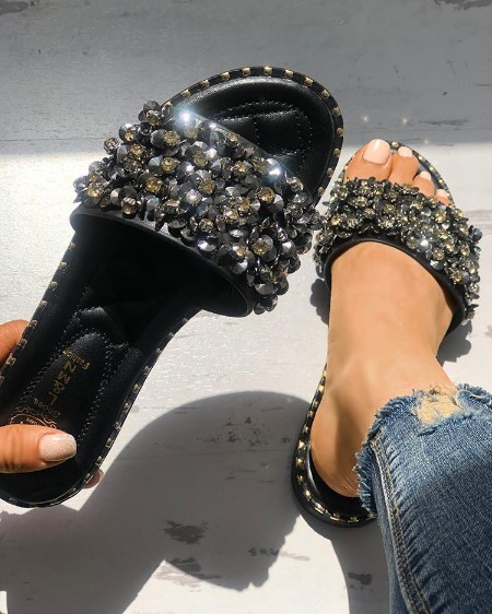 Rhinestone Decor Quilted Open Toe Slippers