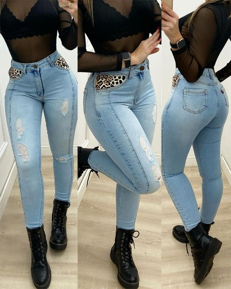Leopard Contrast Ripped Skinny Jeans