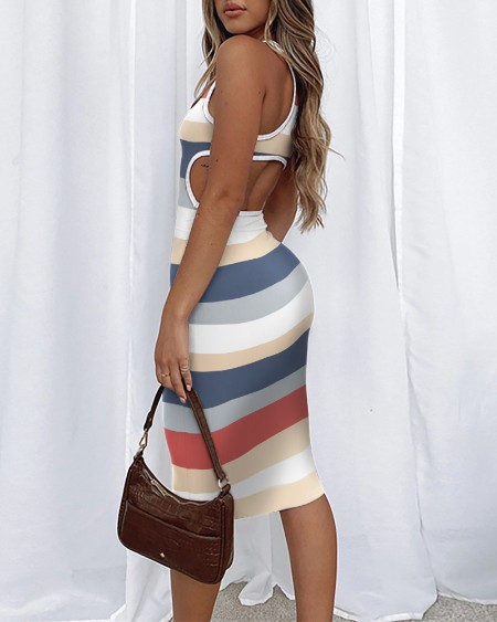 Stripe Print Hollow-out Backless Buttock Wrapped Sleeveless Midi Dress Casual Bodycon Dress
