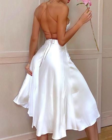 Crisscross Backless Satin High Slit Party Dress