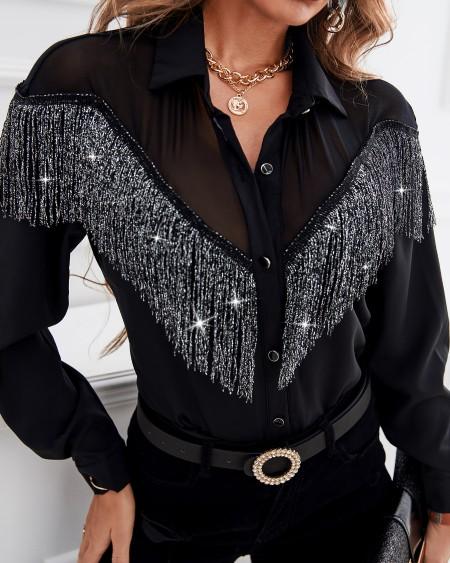 Tassel Sheer Mesh Buttoned Shirt