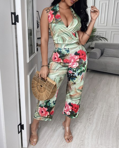 Floral Print Halter Sleeveless Lace Up Backless Jumpsuit