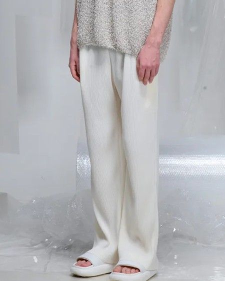 Solid Color Ribbed Straight Baggy Pants
