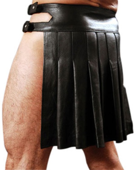Sexy Solid Color PU Leather Pleated Skirt