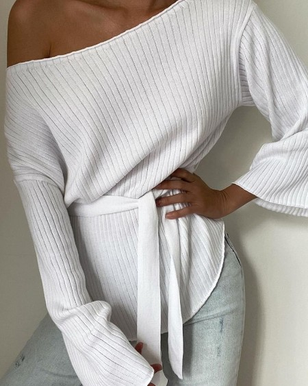 Solid Flared Sleeves Ribbed Knit Belted Top
