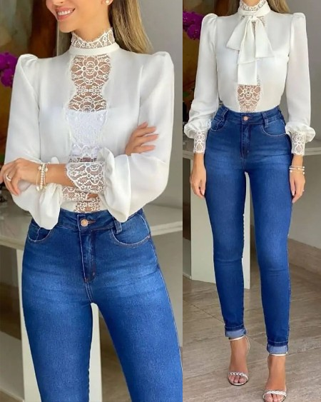 Contrast Lace Tie Front Long Sleeve Top