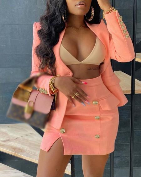 Lapel Collar Flap Detail Blazer & Double Breasted Split Skirt Set