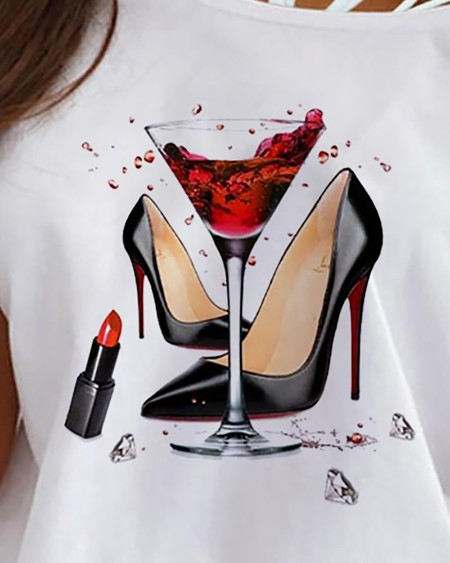 Heels Graphic Print One Shoulder Lace-up T-shirt