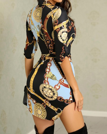 Chains Print Belted Casual Shirt Dress