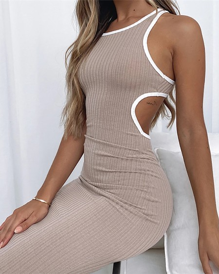 Contrast Binding Cutout Sleeveless Midi Dress