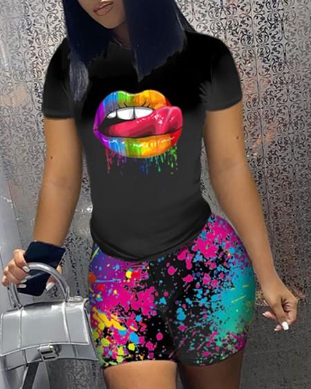 Plus Size Lip Splash Ink Print T-shirt & Shorts Set