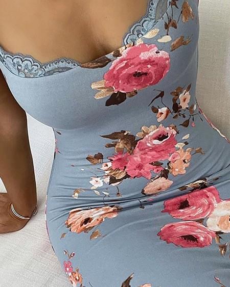 Lace Trim Spaghetti Strap Floral Print Dress