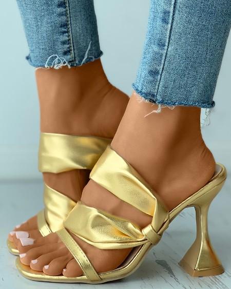 Square Toe Cutout Slide Pyramid Heels