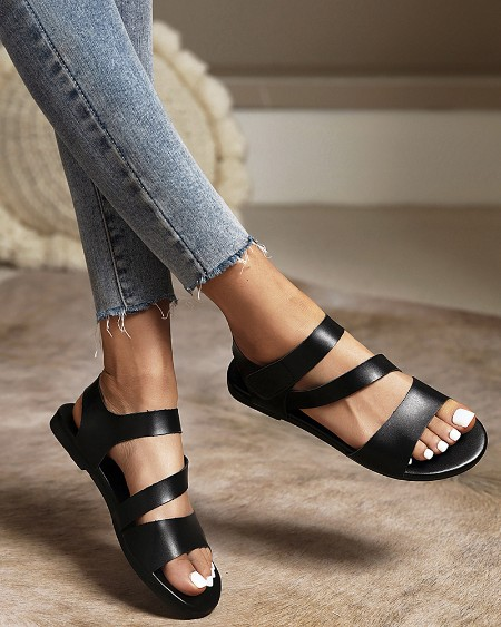 Rome Style Round-toe Solid Color Hollow-out Flat Sandals