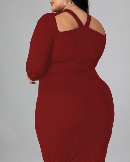Plus Size Ribbed Cutout Long Sleeve Work Dress