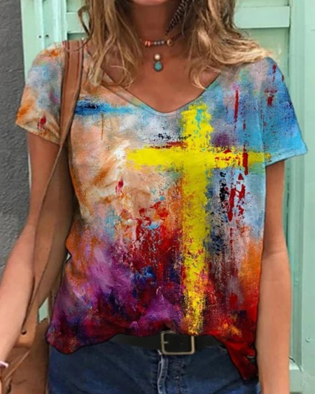 Cross Pattern Print Colorblock V Neck T-Shirt