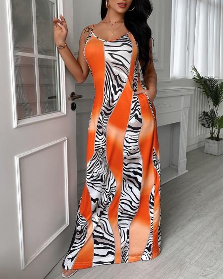 Colorblock Spaghetti Strap Pocket Design Maxi Dress