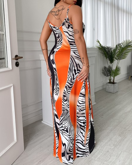 Colorblock Spaghetti Strap Pocket Design Maxi Dress