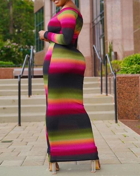 Striped Colorblock Long Sleeve Skinny Maxi Dress