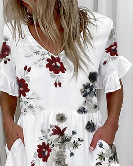 Ruffles Pocket Design Floral Print Dress