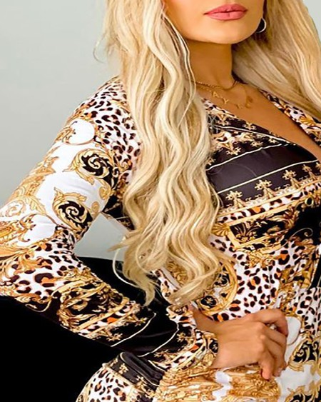 Plunge Baroque Cheetah Print Ruched Drawstring Bodycon Dress