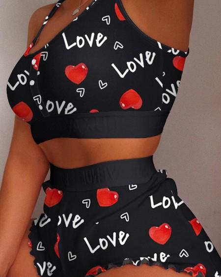 Heart Print Colorblock Frill Hem Cami Set