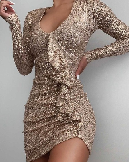 Long Sleeve Sequin Ruffle Hem Ruched Bodycon Dress U-neck Cocktail Dress Party Dress