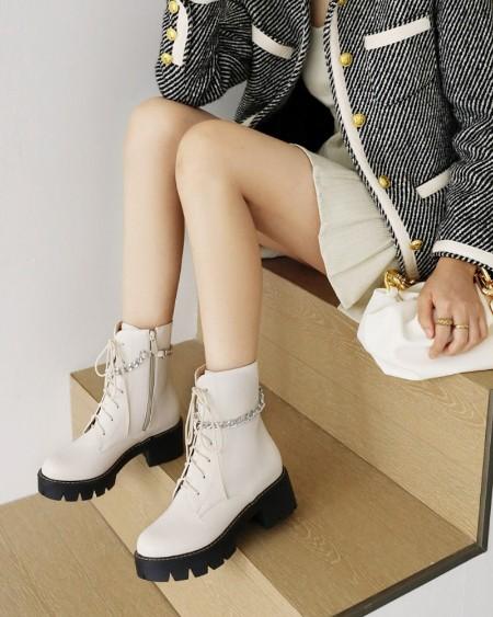 Womens Lace-up Chain Decoration Round Toe Wax Finish Zipper Martin Boots