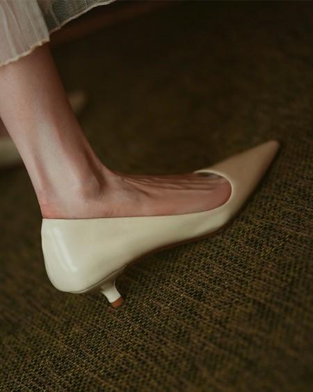 Solid Low Heel Pointed-toe Heels