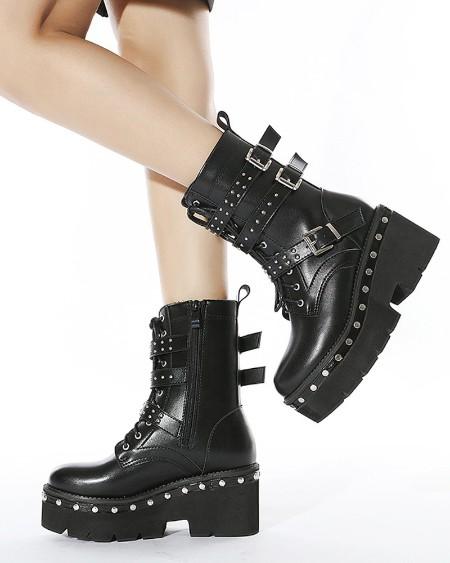 Womens Round Toe Straps Decor Wax Finish Platform Motorcycle Boots