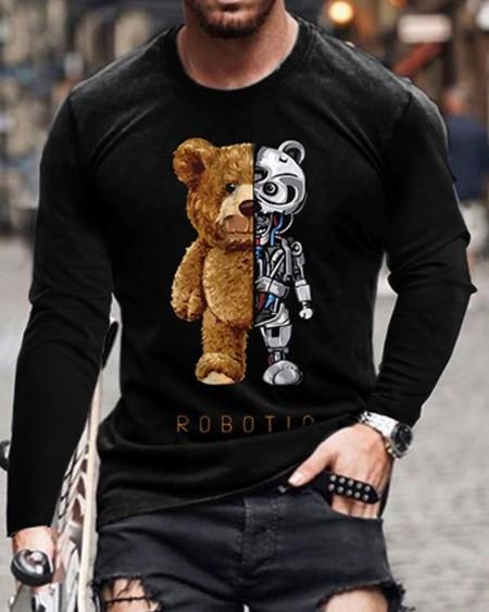 Mens Patchwork Bear Printed Long Sleeve Sweatshirt Tops
