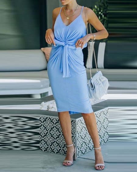 Tie Front Twisted Spaghetti Strap Casual Dress