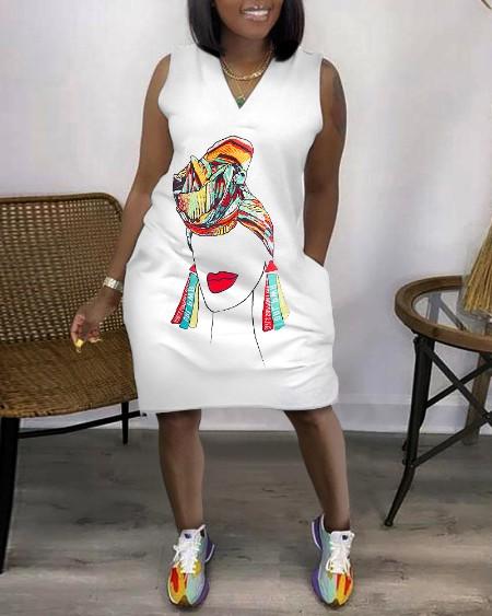 Sleeveless Pocket Design V-Neck Figure Print Dress