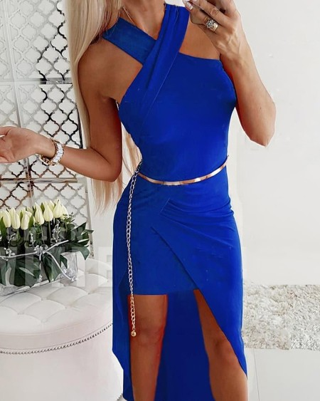 Solid Color Asymmetrical Wrap Bodycon Dress