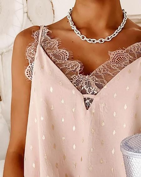 Eyelash Lace Trim Bronzing Cami Top