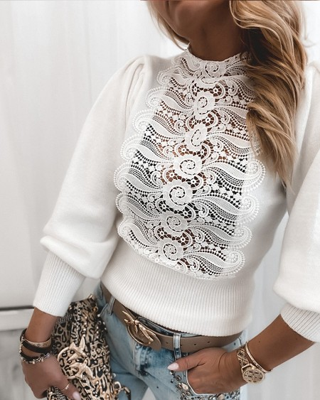 Contrast Guipure Lace Lantern Sleeve Sweater