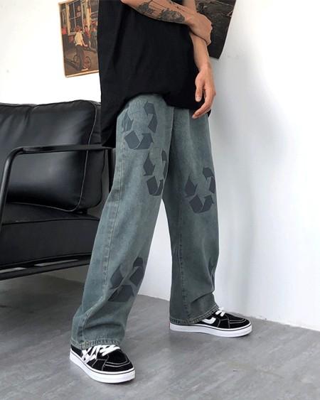 Graphic Patterns Print Loose Straight Leg Denim Pants